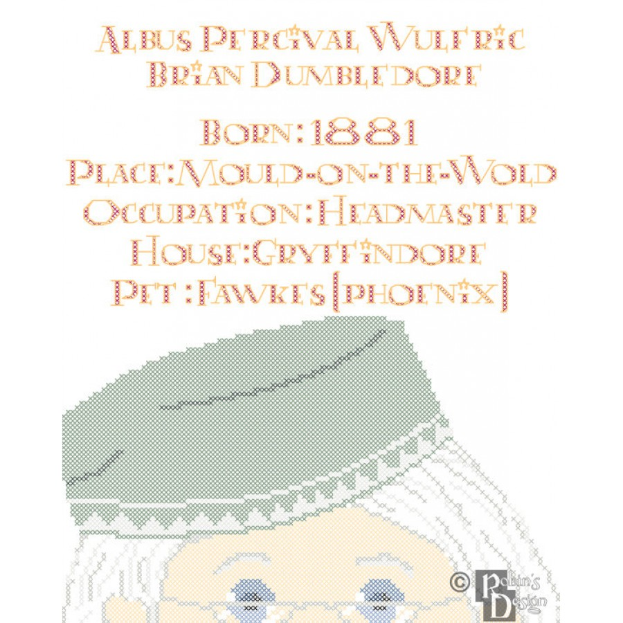 Albus Dumbledore Biographical Facts Cross Stitch Pattern PDF Download