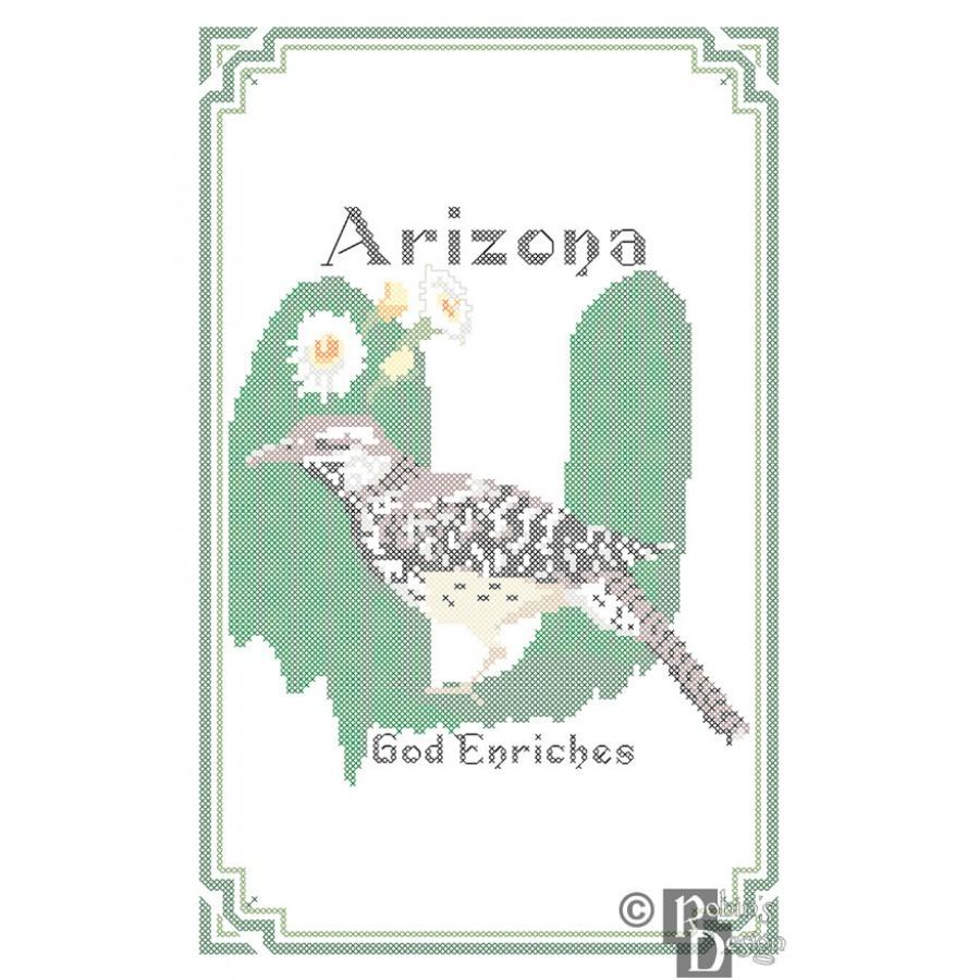 Arizona State Bird, Flower and Motto Cross Stitch Pattern PDF Download