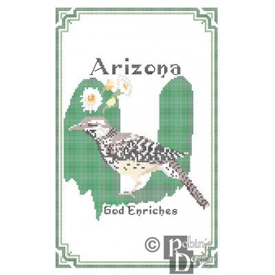 Arizona State Bird, Flower and Motto Cross Stitch Pattern PDF Download