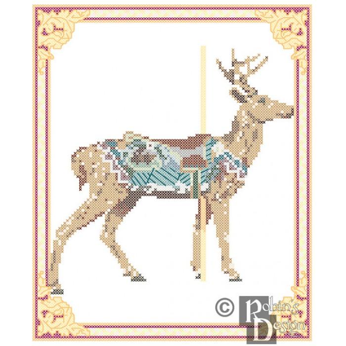Carousel Deer Cross Stitch Pattern Herschell-Spillman PDF Download