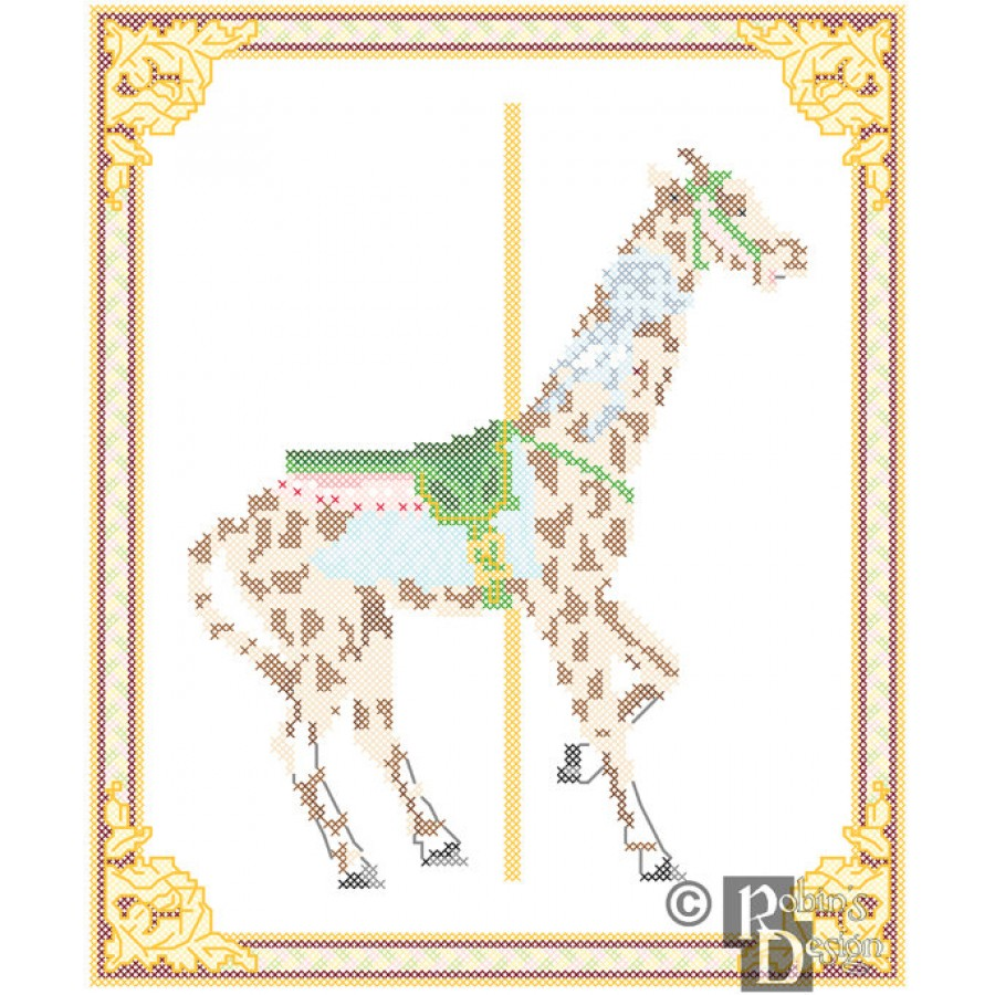 Carousel Giraffe Cross Stitch Pattern Herschell-Spillman PDF Download