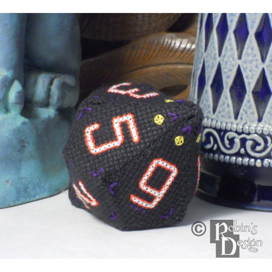 D10 Pentagonal Trapezohedron Set 3D Cross Stitch Sewing  Pattern PDF Download