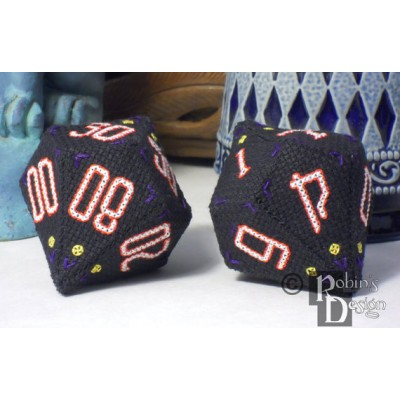 D10 Pentagonal Trapezohedron Set 3D Cross Stitch Sewing  Pattern PDF Download