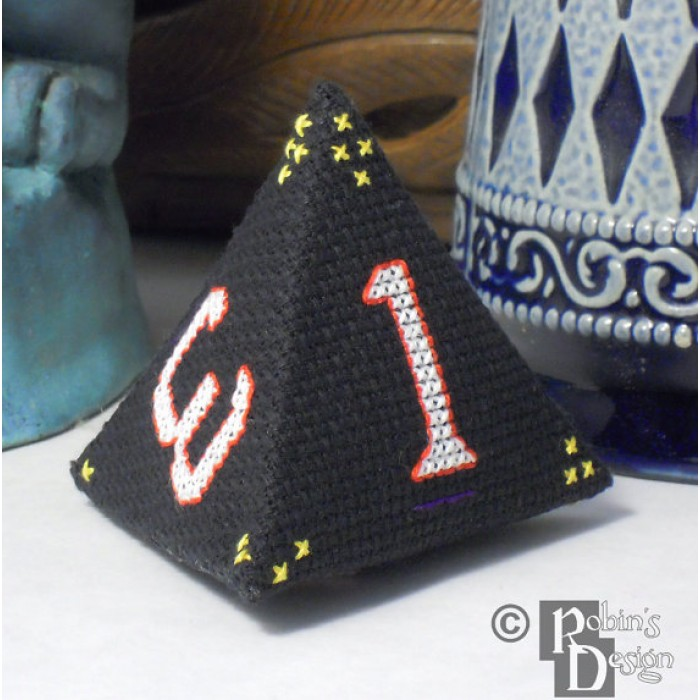 D4 Tetrahedron 3D Cross Stitch Sewing  Pattern PDF Download