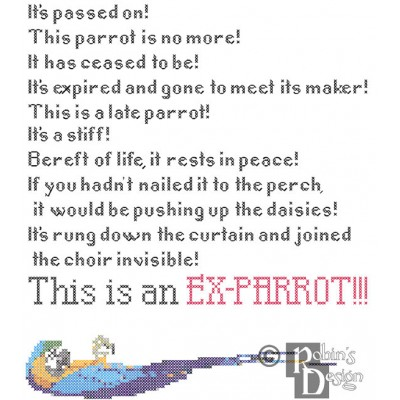 Dead Parrot Sketch Rant Cross Stitch Pattern PDF Download