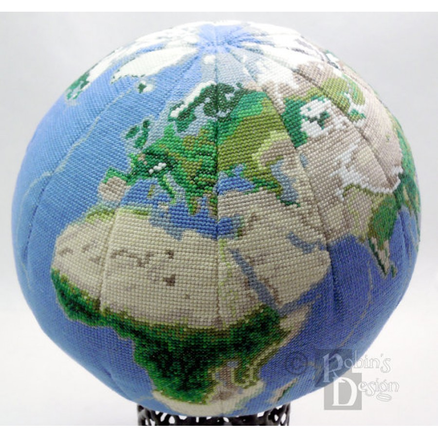 Earth Globe 3D Cross Stitch Sewing Pattern PDF Download