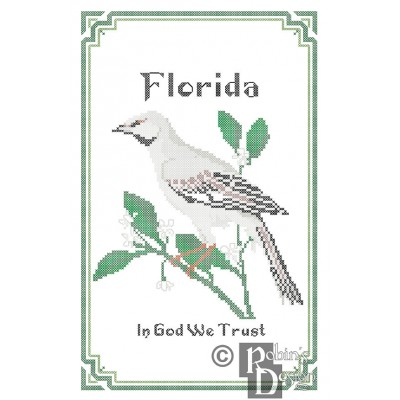 Florida State Bird, Flower and Motto Cross Stitch Pattern PDF Download