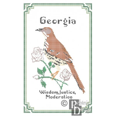 Georgia State Bird, Flower and Motto Cross Stitch Pattern PDF Download