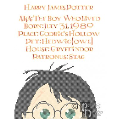 Harry Potter Biographical Facts Cross Stitch Pattern PDF Download