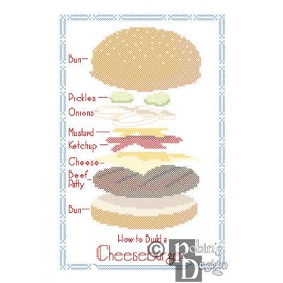 How to Build a Cheeseburger Cross Stitch Pattern Fun Blueprint PDF Download