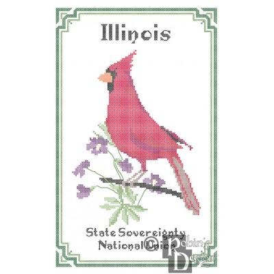 Illinois State Bird, Flower and Motto Cross Stitch Pattern PDF Download