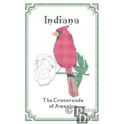 Indiana State Bird, Flower and Motto Cross Stitch Pattern PDF Download