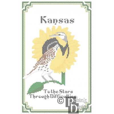 Kansas State Bird, Flower and Motto Cross Stitch Pattern PDF Download