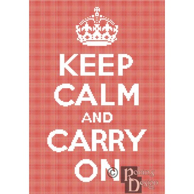 Keep Calm and Carry On Cross Stitch Pattern Easy PDF Download