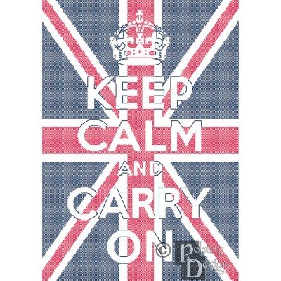 Keep Calm and Carry On Union Jack Background Cross Stitch Pattern PDF Download