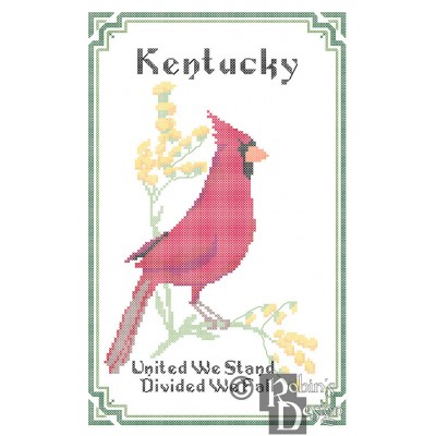 Kentucky State Bird, Flower and Motto Cross Stitch Pattern PDF Download
