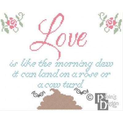 Love is like the Morning Dew Cross Stitch Pattern PDF