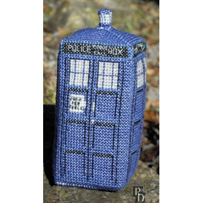 Mini Tardis in 3D Cross Stitch Sewing Pattern PDF Download