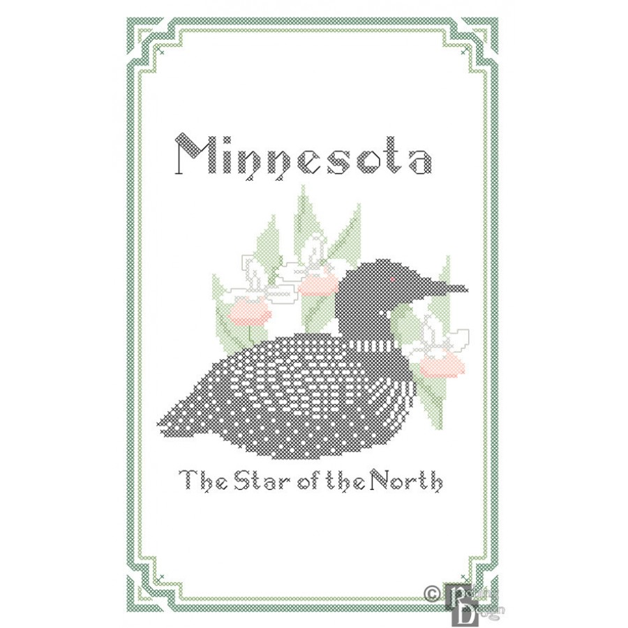 Minnesota State Bird, Flower and Motto Cross Stitch Pattern PDF Download