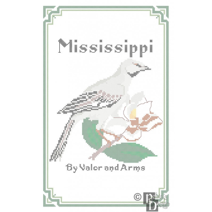 Mississippi State Bird, Flower and Motto Cross Stitch Pattern PDF Download