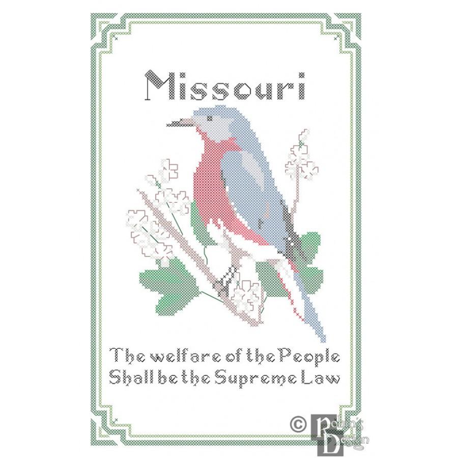 Missouri State Bird, Flower and Motto Cross Stitch Pattern PDF Download