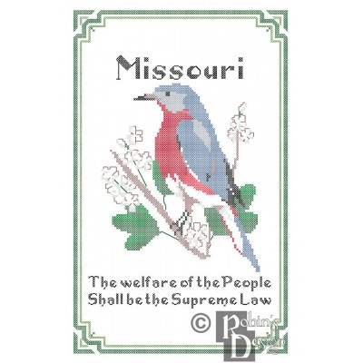 Missouri State Bird, Flower and Motto Cross Stitch Pattern PDF Download