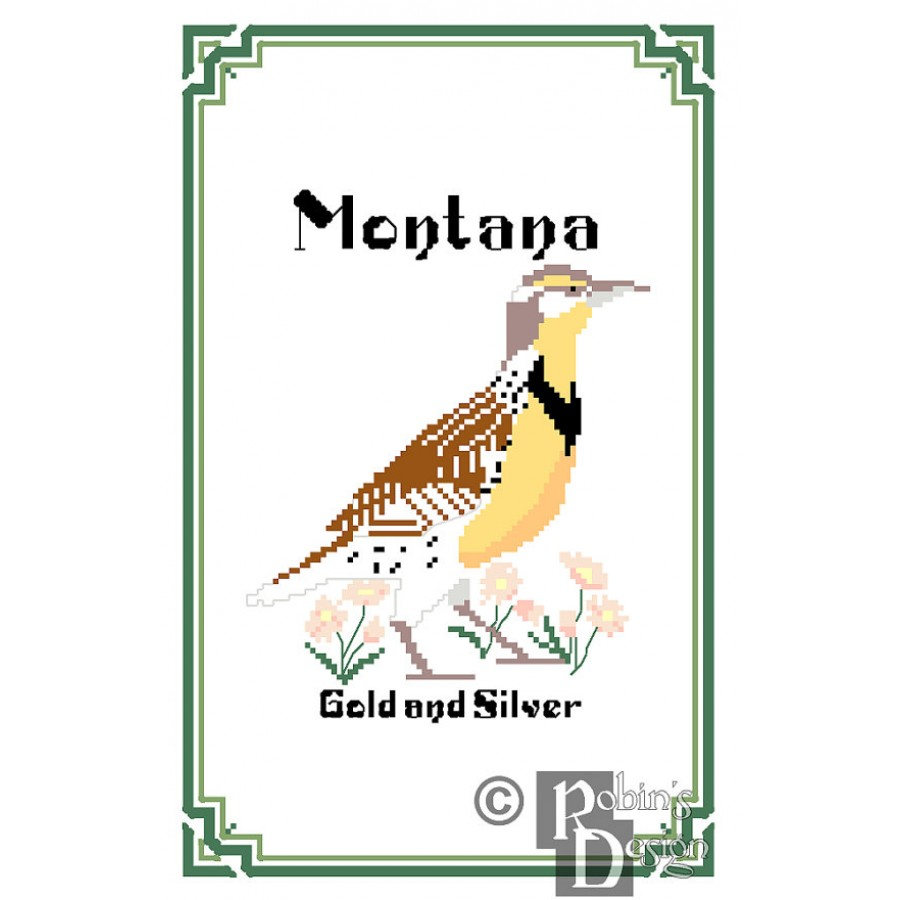 Montana State Bird, Flower and Motto Cross Stitch Pattern PDF Download