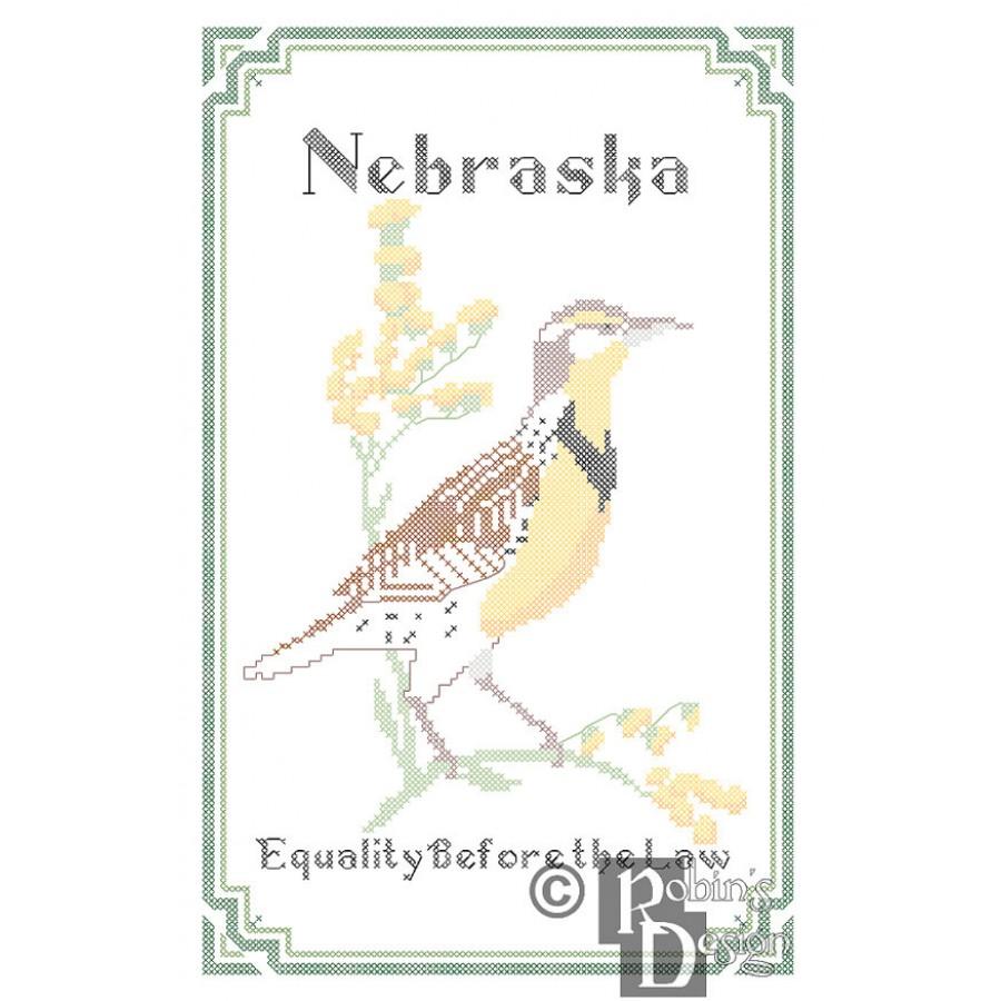 Nebraska State Bird, Flower and Motto Cross Stitch Pattern PDF Download