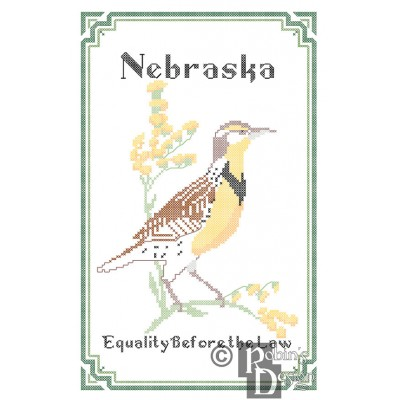 Nebraska State Bird, Flower and Motto Cross Stitch Pattern PDF Download