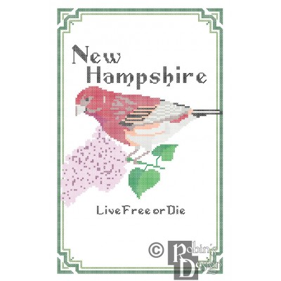 New Hampshire State Bird, Flower and Motto Cross Stitch Pattern PDF Download
