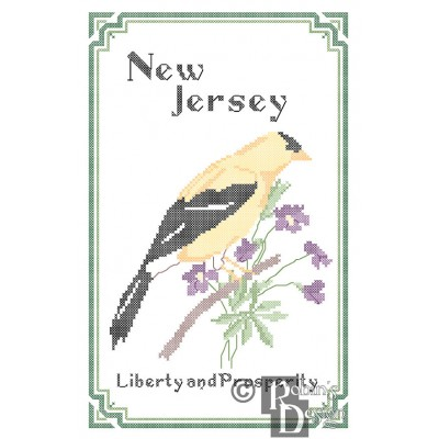 New Jersey State Bird, Flower and Motto Cross Stitch Pattern PDF Download