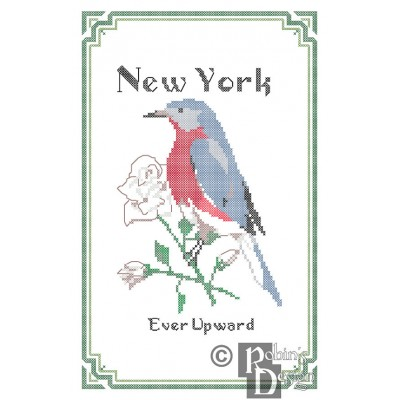 New York State Bird, Flower and Motto Cross Stitch Pattern PDF Download