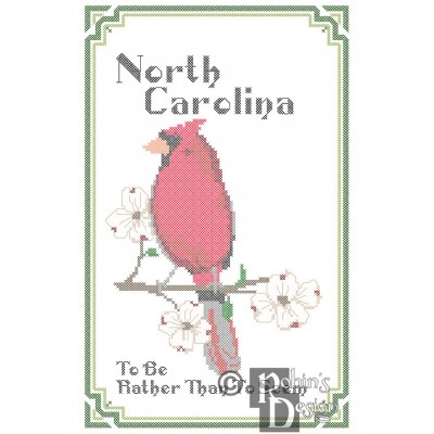 North Carolina State Bird, Flower and Motto Cross Stitch Pattern PDF Download