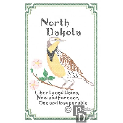 North Dakota State Bird, Flower and Motto Cross Stitch Pattern PDF Download