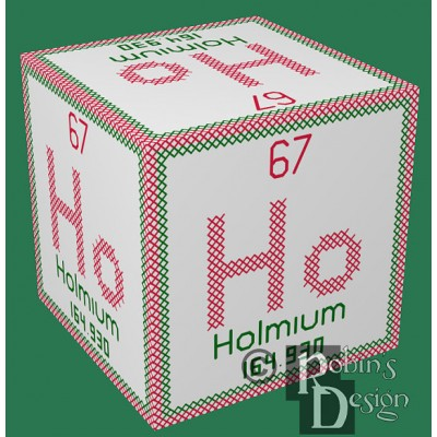 Periodic Element Ho Ho Ho 3D Ornament Cross Stitch Sewing Pattern PDF Download
