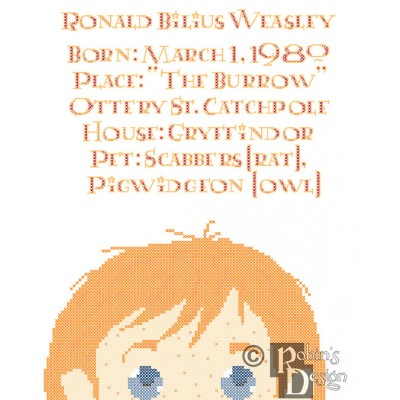 Ron Weasley Biographical Facts Cross Stitch Pattern PDF Download