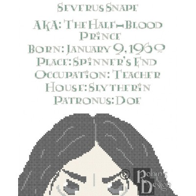 Severus Snape Biographical Facts Cross Stitch Pattern PDF Download