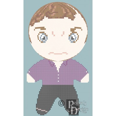Sherlock Holmes in Purple Shirt Doll 3D Cross Stitch Sewing Pattern PDF Download