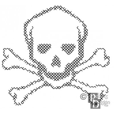 Skull and Crossbones for Shirt Patch Cross Stitch Pattern PDF Download
