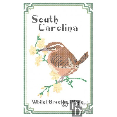 South Carolina State Bird, Flower and Motto Cross Stitch Pattern PDF Download