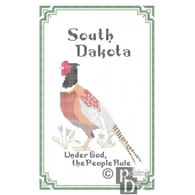 South Dakota State Bird, Flower and Motto Cross Stitch Pattern PDF Download