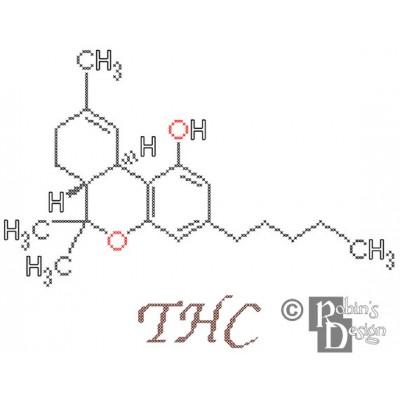 THC Molecule Cross Stitch Pattern PDF Download