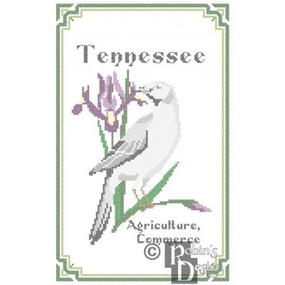 Tennessee State Bird, Flower and Motto Cross Stitch Pattern PDF Download