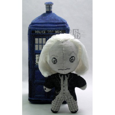 The First Doctor Doll in Black and White 3D Cross Stitch Sewing Pattern PDF Download