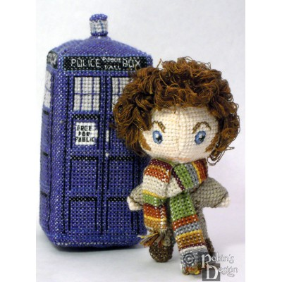 The Fourth Doctor Itty Bitty Doll 3D Cross Stitch Sewing Pattern PDF Download