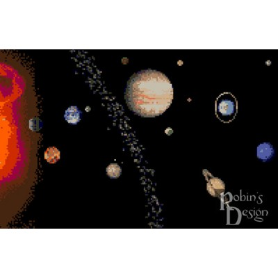 The Solar System Cross Stitch Pattern PDF Download
