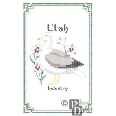 Utah State Bird, Flower and Motto Cross Stitch Pattern PDF Download