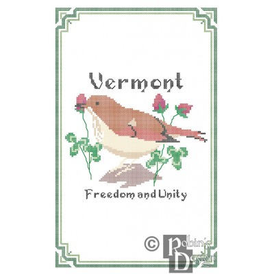 Vermont State Bird, Flower and Motto Cross Stitch Pattern PDF Download