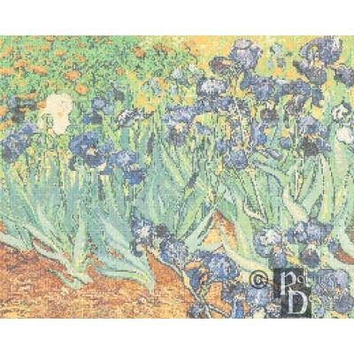 Vincent Van Gogh's Irises in a Field Cross Stitch Pattern PDF Download