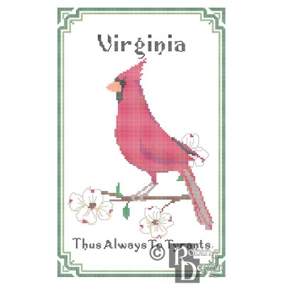 Virginia State Bird, Flower and Motto Cross Stitch Pattern PDF Download
